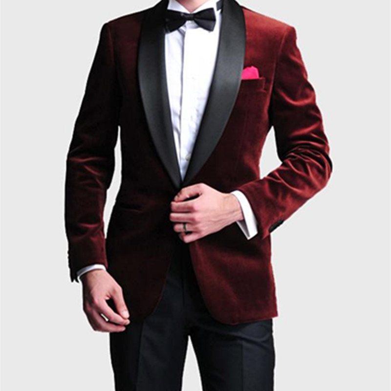 b0ba8f3419a Fashion Style One Button Dark Red Velvet Groom Tuxedos Men s Wedding Prom  Suits Bridegroom Groom men suit (Jacket+Pants+Bow Tie)