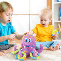 Kids Bath Toy Tub Octopus Bath Play Set Kids Baby Water Toys For Bathroom Early Educational Shower Soft Grasping Toys Gift