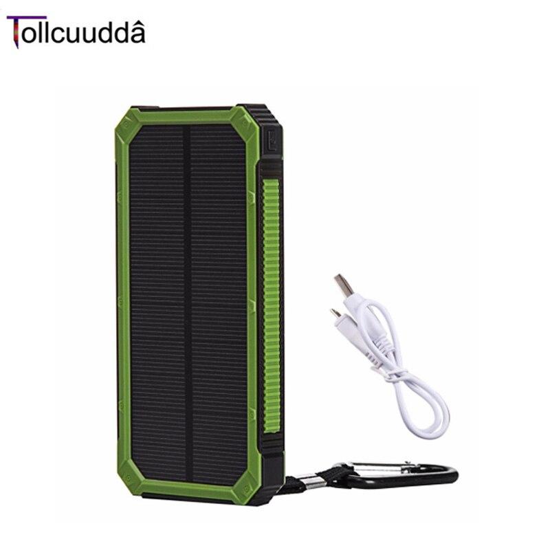 imágenes para 100% original tollcuudda dylh01 batería solar power bank 10000 mah cargador de teléfono portátil de doble uso interfaces impermeable básica