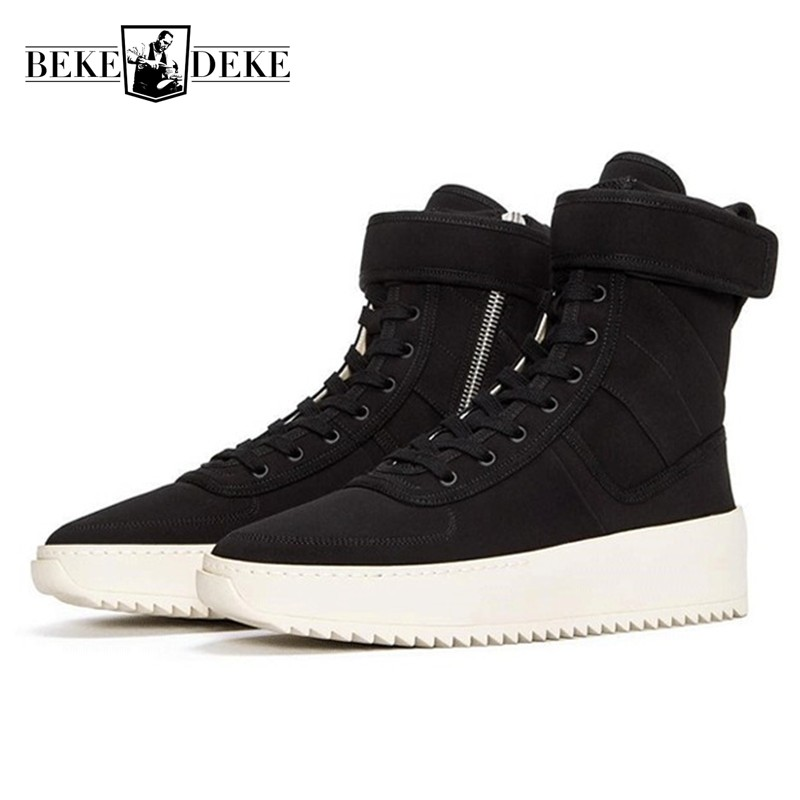 Euro High Street Fashion Mens Casual Shoes Military High Top Skateboard Sneakers Genuine Leather Thick Platform Chaussure Homme