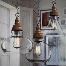 Lámpara de luz colgante de vidrio transparente con tapa de madera nórdica, accesorio de iluminación Vintage para Industrial retro, lámpara colgante para bar