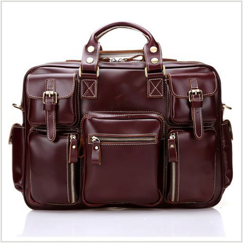 2016 New Fashion Genuine Leather Men Bag Vintage Top 100% Full Grain Real Leather Business Shoulder Bags Laptop Briefcase M038