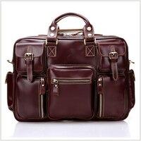 2016 New Fashion Genuine Leather Men Bag Vintage Top 100 Full Grain Real Leather Business Shoulder