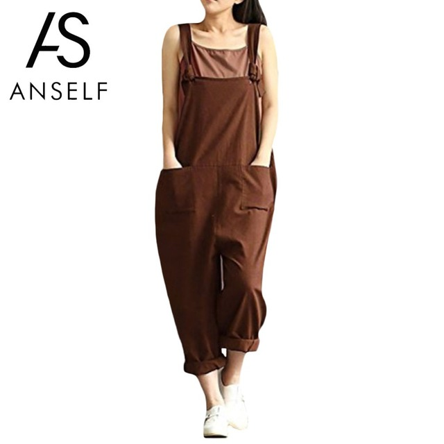 753ff2d4259a Anself Women Loose Jumpsuit Overalls Female Sleeveless Plus Size Suspender  Trousers Pockets Wide Leg Casual Dungarees Rompers