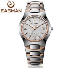 Easman мужская стали вольфрама часы роскошный сапфировое стекло водонепроницаемый дата шоу платье бизнес-наручные часы для мужчин розового золота