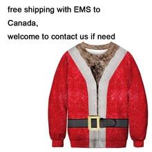 Unisex Men Women 2019 Ugly Christmas Sweater Vacation Santa Elf Funny Christmas Fake Hair Jumper Autumn Winter Tops Clothing