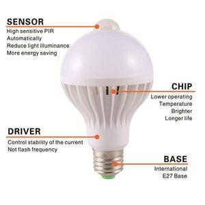 Image 3 - Lattuso led電球モーションセンサーランプ 220v led電球 9 ワットE27 サウンド + ライト自動スマートled赤外線ボディモーションセンサーライト