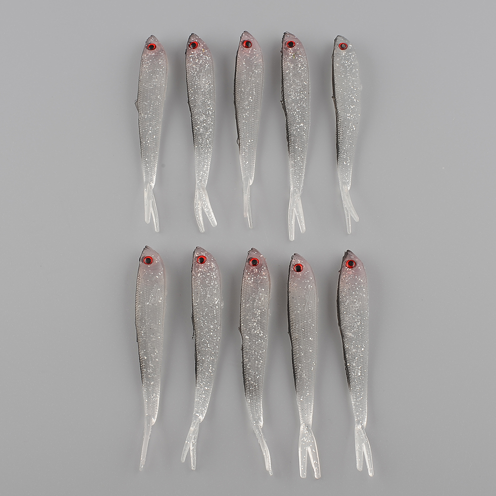 Freshwater fish china - 10pcs 95mm Soft Silicone Tiddler Fish Bait Freshwater Artificial Fishing Lure Catching Durable Kit New