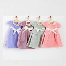 Cute Nursery Hand Towel Dress Shape Super Absorbent Soft Bathroom Hanging Wipe Towel Skirt Kitchen Kids Hand Towels