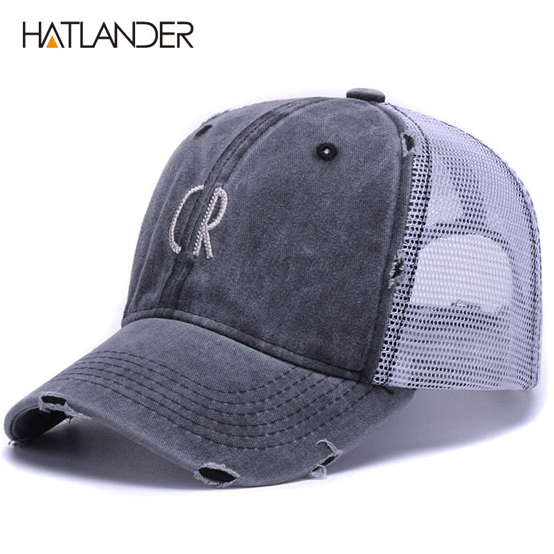 39aba37a2416b  HATLANDER  letters cotton mesh baseball caps unisex outdoor sports sun hats  gorras Vintage summer