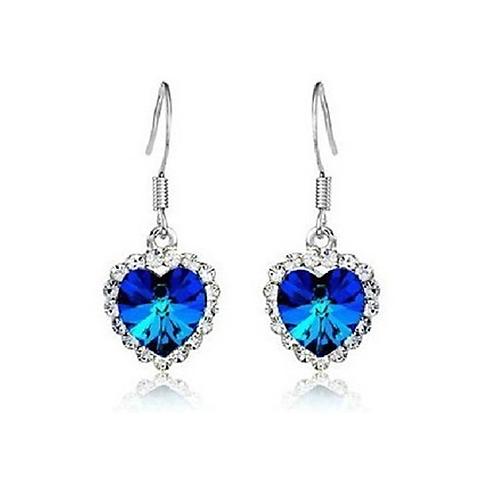 2015 hot sell 1 Pair Popular Crystal Women's Heart of Ocean Earrings Ear Stud for Elegant women 567V