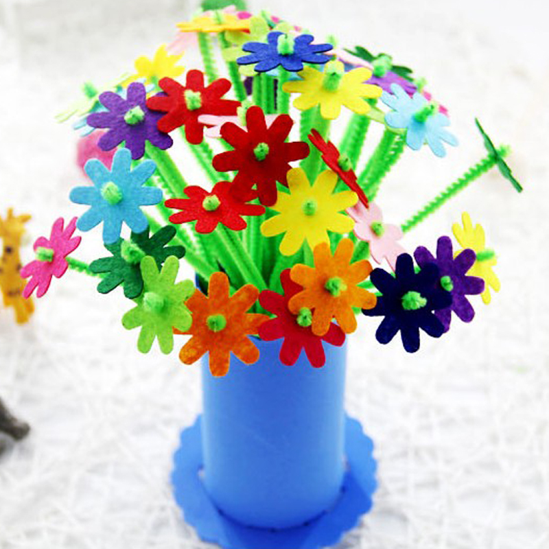 4pcs Children DIY Handmade EVA Flower Toys/ Kids Adult Hair Root EVA  Carnation With Flowerpot Educational Toys, Free Shipping
