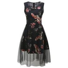 New 100% cotton mesh Splicing vintage Dress women sleeveless summer dress Printed flower 50s style women sexy party dress TS338