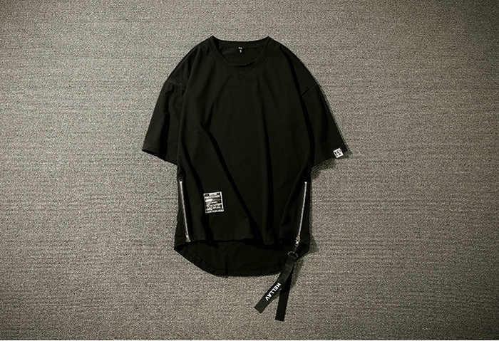 Sonny de algodón de los hombres de cuello Casual camiseta de sólidos longitud media camiseta Hip Hop cintas lado cremallera de manga corta de los hombres T camisa