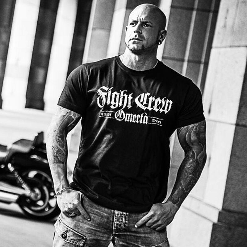 Venda quente dos homens t camisa moda luta tripulação tatuagem motociclista rocker bad boys streetwear fighter verão o-neck topos
