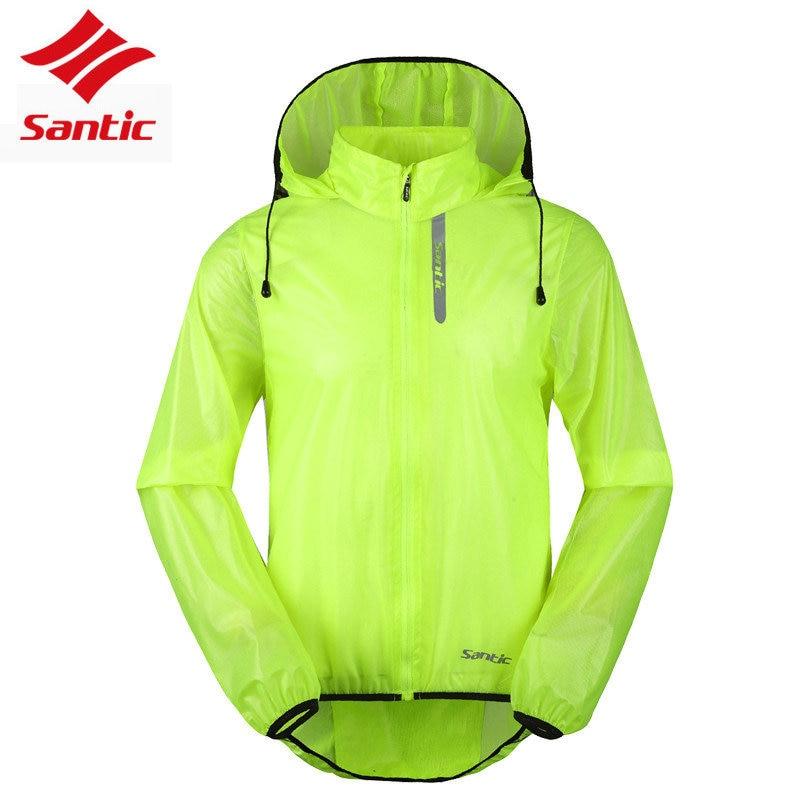 Santic Men Cycling Windbreaker Jacket Light Waterproof UV Protection Hooded Skin Coat Outdoor Riding Bike Bicycle Coat Green