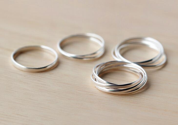 Men Women 925 Sterling Silver Interlocking Rolling High Polished