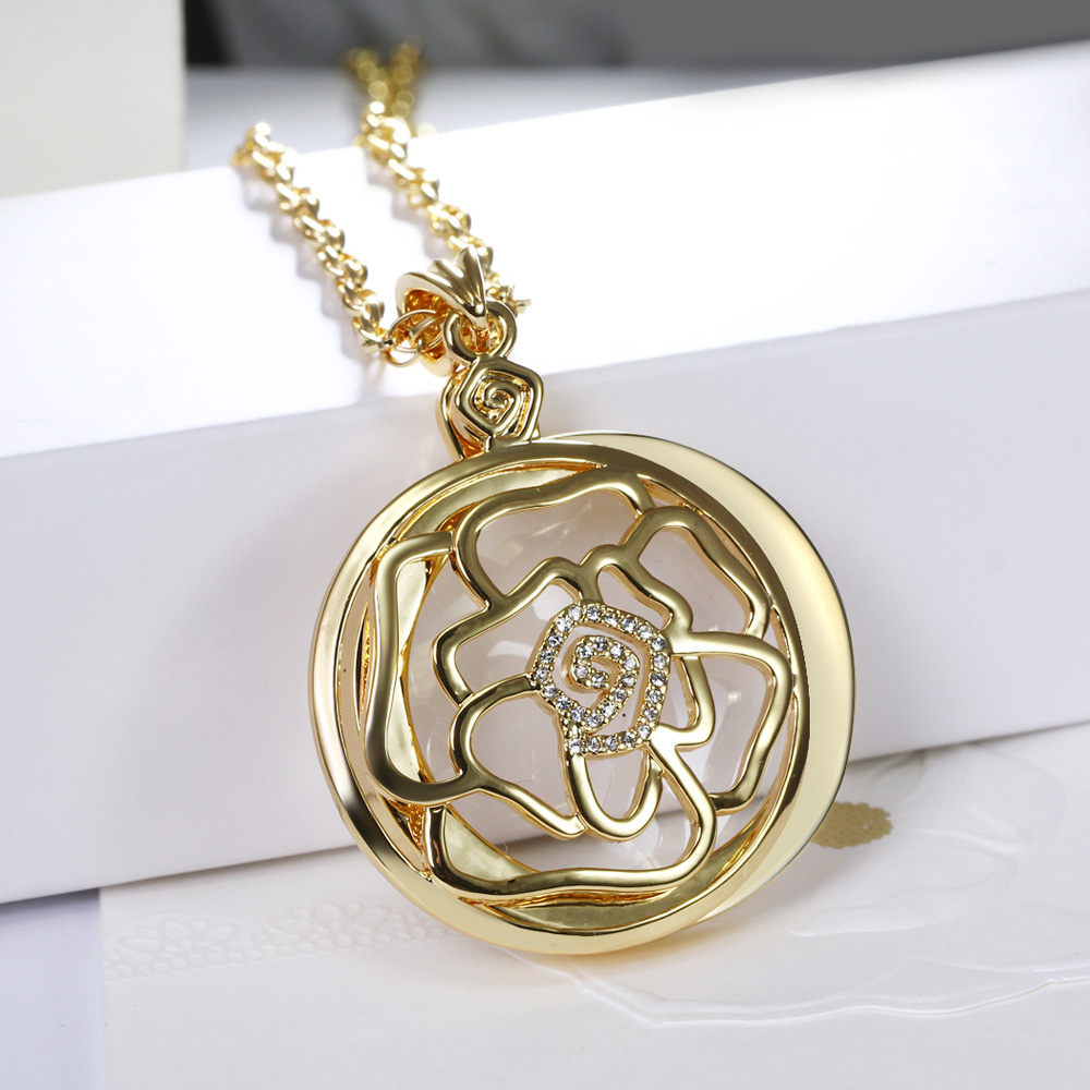 DreamCarnival1989 Romantic Crystals Rose Hollow Cover Magnify Glass Pendant Necklace Gold Color Gift for Mum Wholesalers P 0032 in Pendants from Jewelry Accessories