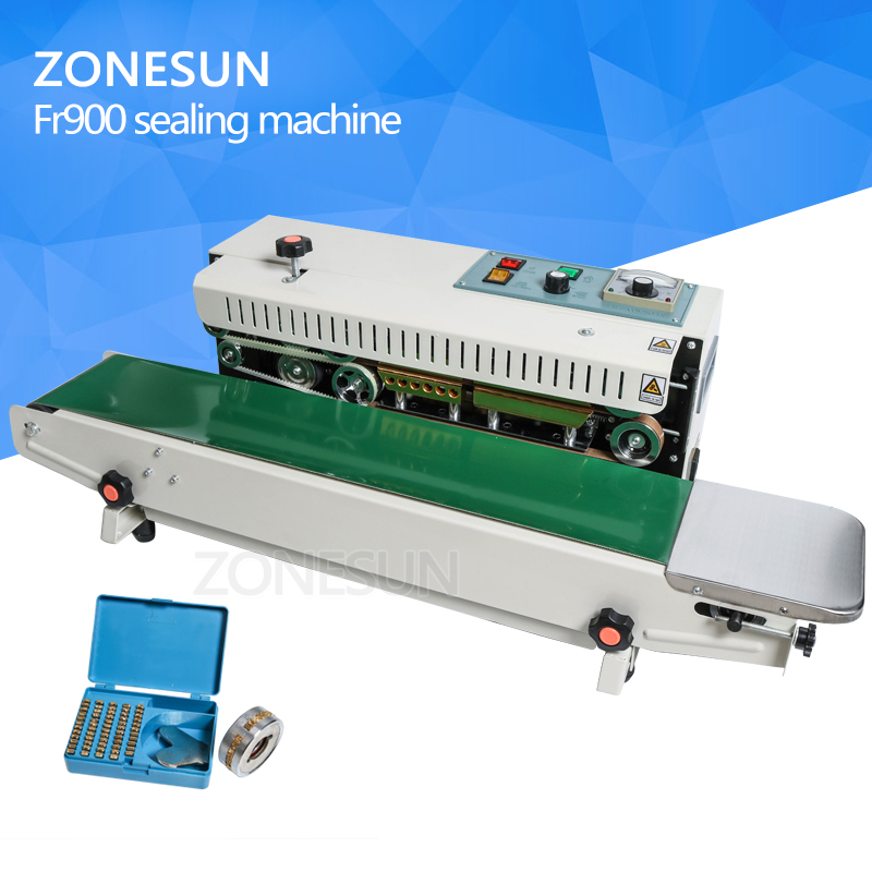 ZONESUN FR-900 Automatic Continuous film sealing machine, plastic bag package machine, Expanded food band sealer automatic continuous plastic film sealing machine for food cosmetic potato chips dbf 1000 110v 60hz
