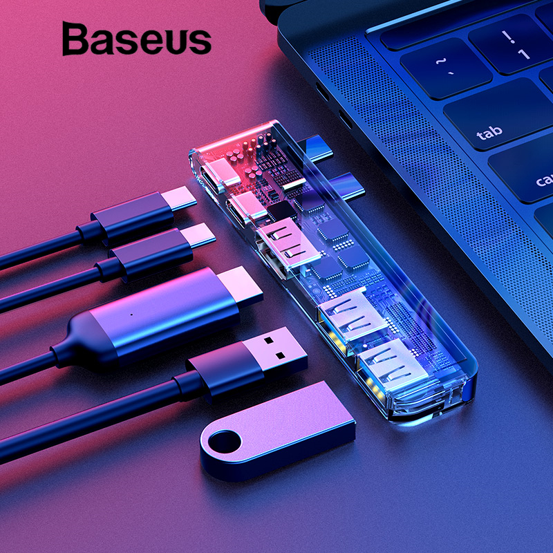 Baseus Тип C USB 3,0 адаптер концентратор для MacBook Pro 2016/2017/2018 двойной USB-C хаб разветвитель HDMI Thunderbolt Dual USB 3,0 USB HUB