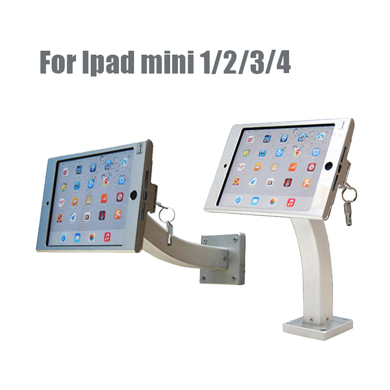 Aluminum ipad tablet security lock wall mount case table display kiosk brace housing stand with screw tube for Ipad mini 1 2 3 4 for ipad 2 3 4 air pro 9 7 desktop secure lock stand with metal frame brace display kiosk pos table security holder on hotel
