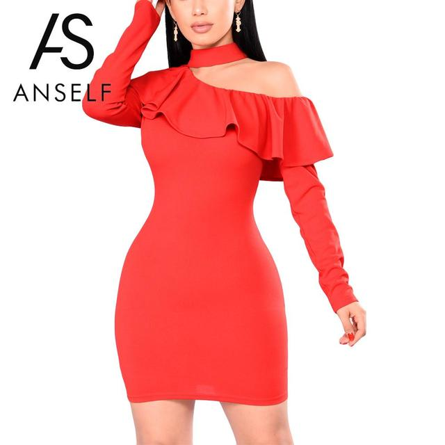 32cb6eae57e Anself Sexy Women Mini Bodycon Dress Choker Neck Long Sleeves One Shoulder  Pencil Dress Ruffles Overlay Party Bandage Red Dress