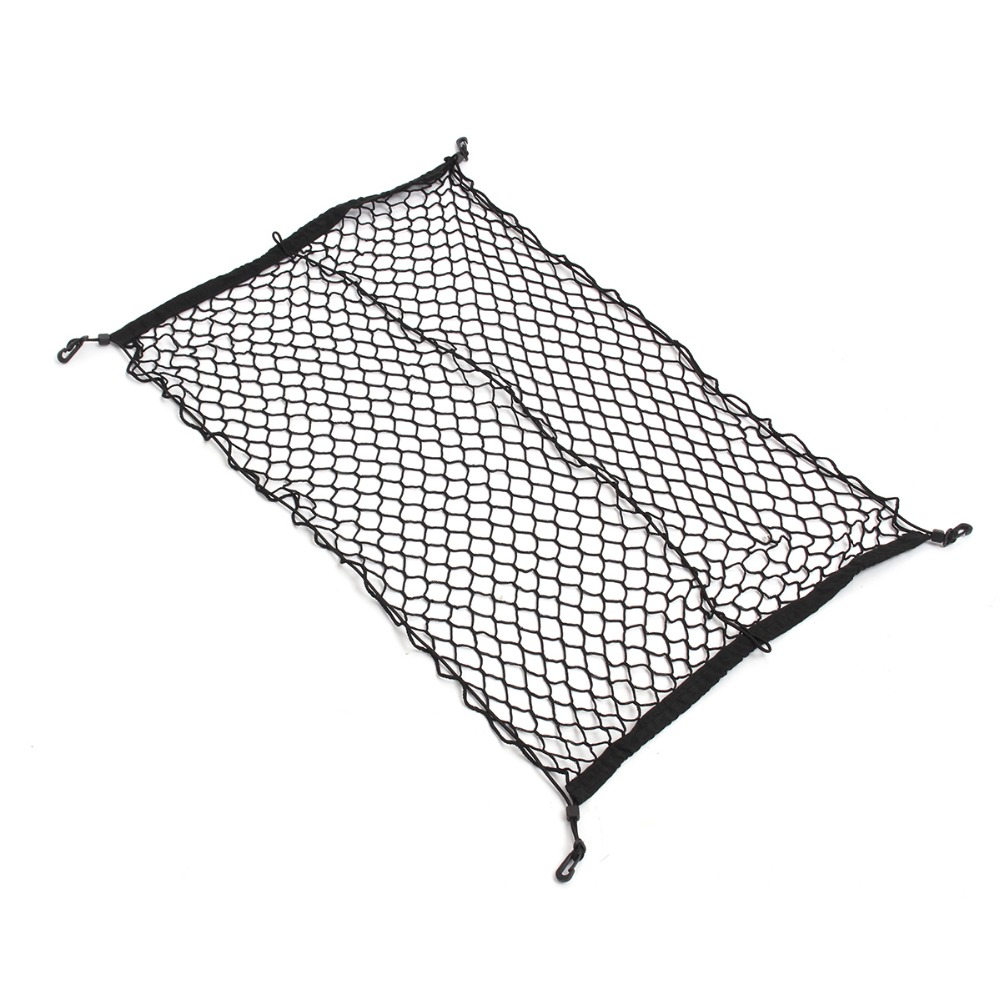 100 cm x 70 cm Noir En Nylon De Voiture Tronc Net Bagages De Stockage Organisateur Sac Arrière Queue Maille Réseau Avec 4 crochets