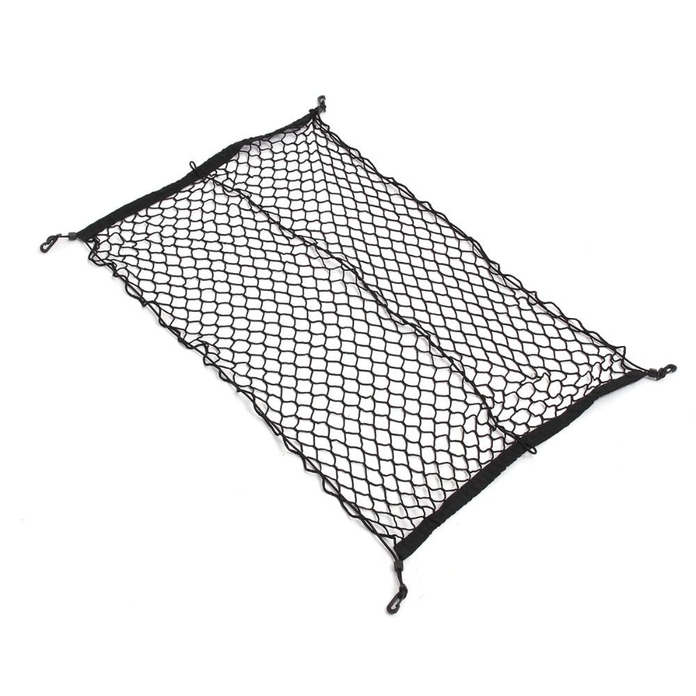 100cm x 70cm Black Nylon Car Trunk Net Luggage Storage Organizer Bag Rear Tail Mesh Network With 4 Hooks