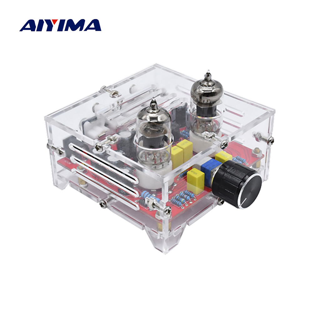 AIYIMA Fever 6J1 Tube Amplifier Preamp Board Hifi Dual Channel Class A  Volume Control Tone Preamplifier Board With Crystal Case