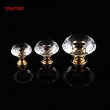 KK&FING 20-40mm European Gold Base Crystal Glass Kitchen Cabinet Knobs and Handles Wardrobe Pulls Drawer Furniture Handle