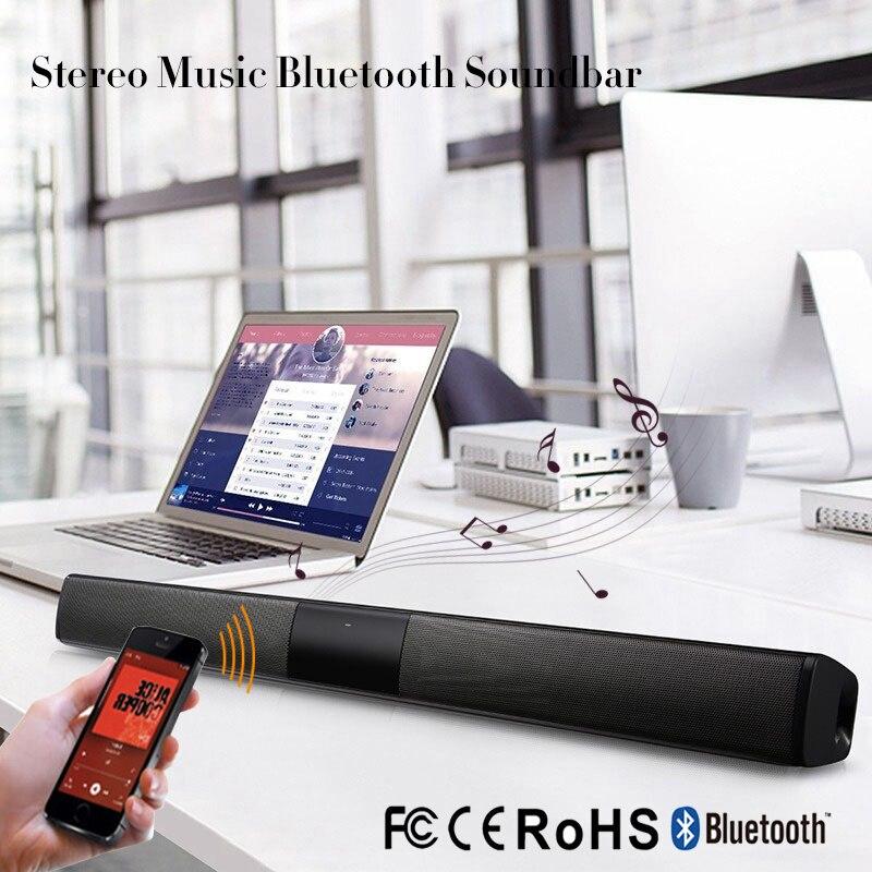 20 w Sans Fil Bluetooth Colonne Barre De Son Stéréo Haut-Parleur TV Home Cinéma Intégré Batterie Au Lithium 2.0A Son Bar TF USB Son bar