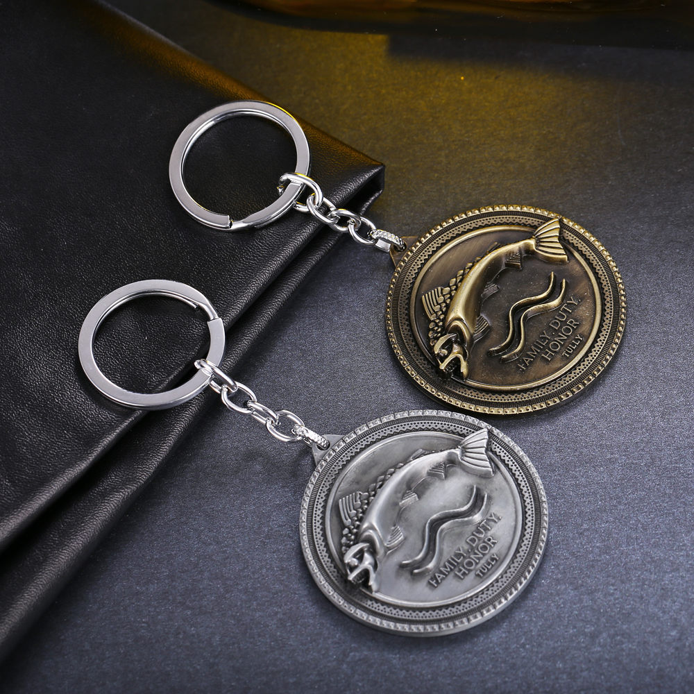 Wholesale Alloy Metal Key Chain with Game of Thrones Tully Pattern For Women&Men Fish Key Ring car key holder RG66