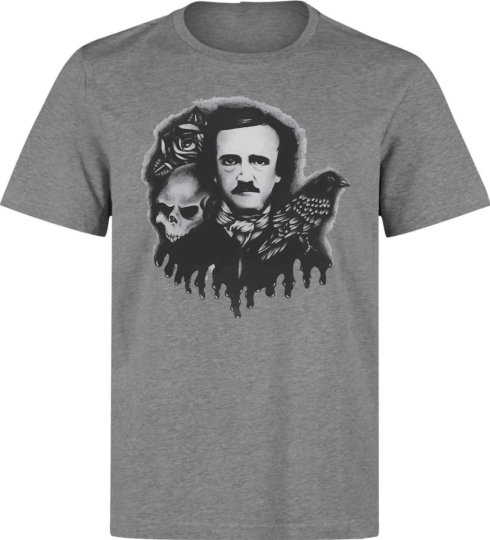 Edgar Allan Poe Famous Writer Grey Artwork men (woman available) grey t shirt Newest 2018 Fashion Stranger Things T Shirt Men