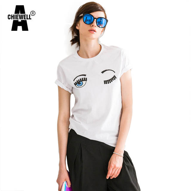 c321a5480492 Online Shop Achiewell Summer Casual Women T-shirt Round Neck Flirting Eyes  Embroidery Sequins Decoration White Cotton T-shirts Tops