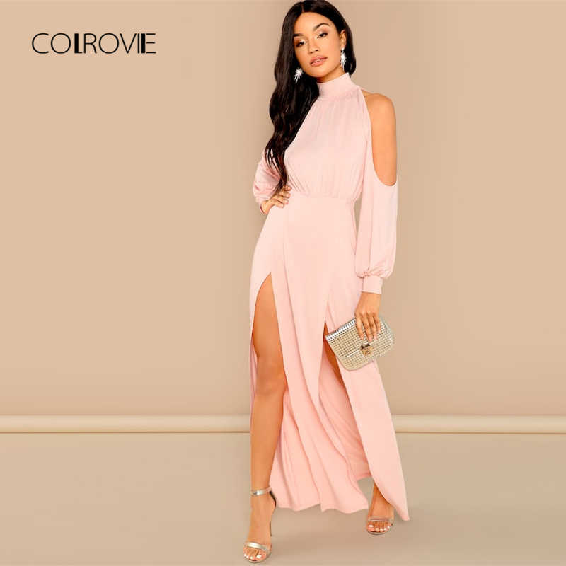 COLROVIE Solid Cold Shoulder Split Elegant Sweet Pink Dress Women 2018  Autumn Long Sleeve Sexy Dress 0b6cca22d6ff