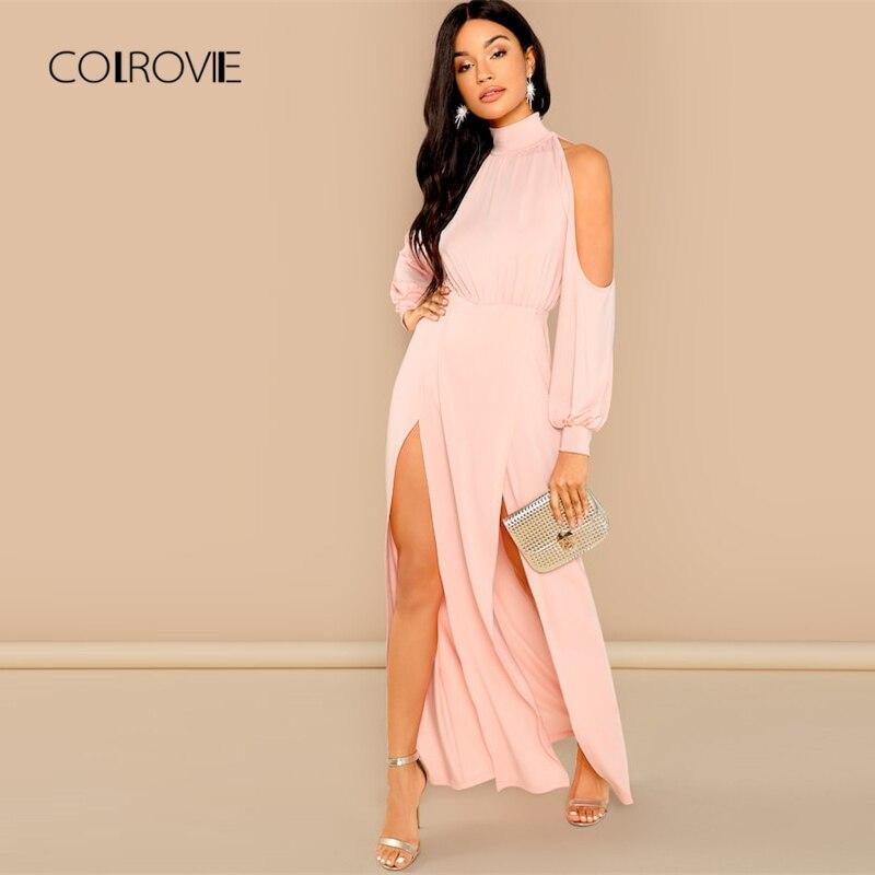 COLROVIE, однотонное, с открытыми плечами, с разрезом, элегантное, милое, розовое платье, женское, 2018, Осеннее, с длинными рукавами, сексуальное пл...