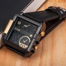 6,11 LED Digital Uhren Männer Luxus Marke Dual Time Zone Quarz Uhr Großen Größe Leder Männlichen Sport Uhr Relogio Masculino