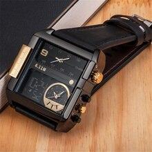 6.11 led relógios digitais homens marca de luxo dupla fuso horário relógio quartzo tamanho grande couro masculino relógio do esporte relogio masculino