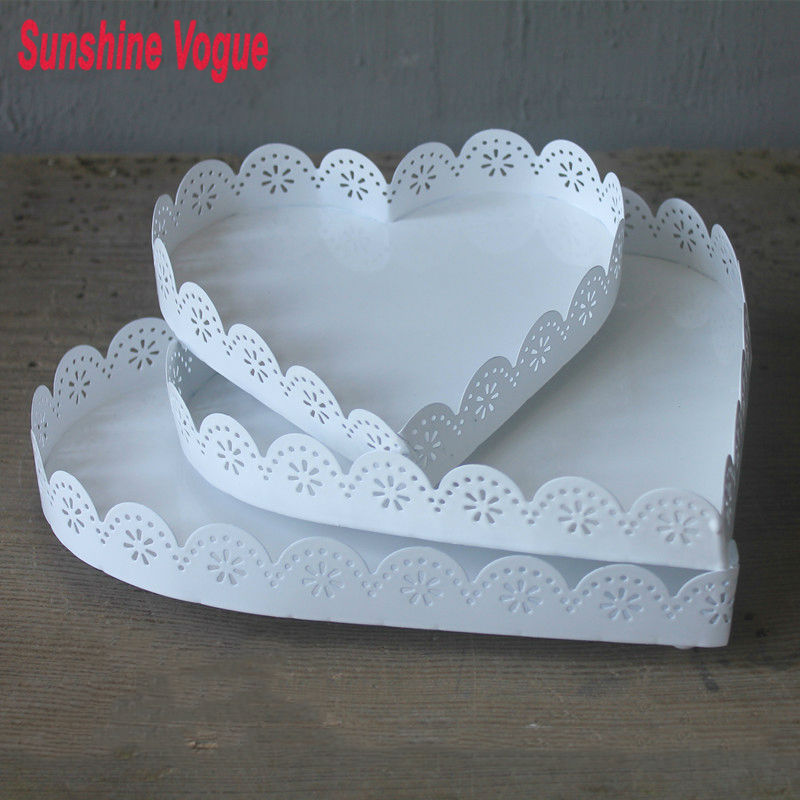 Heart Shape Cake Decoration At Home : Macarons tray cupcake stand white iron heart shape dessert ...