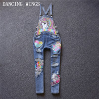 European Fshion Horse Embroidery Denim Jumpsuit Hole Loose Beaded Jean Pants Casual Women Rompers Overalls