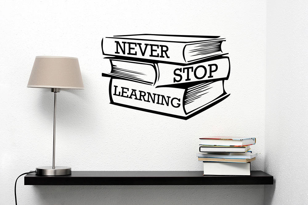 Library Bookshop Decor Never Stop Learning Quote Wall Sticker Studying Books Vinyl Wall Window Decal Classroom Poster Art AZ056 in Wall Stickers from Home Garden