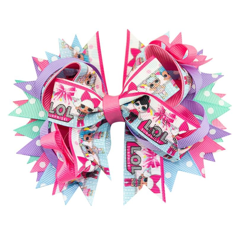 Adogirl 5Inch Cartoon Print Hair Bows for Girls Alligator Clips Ribbon Hanmade Boutique Hair Accessories Custom   Headwear