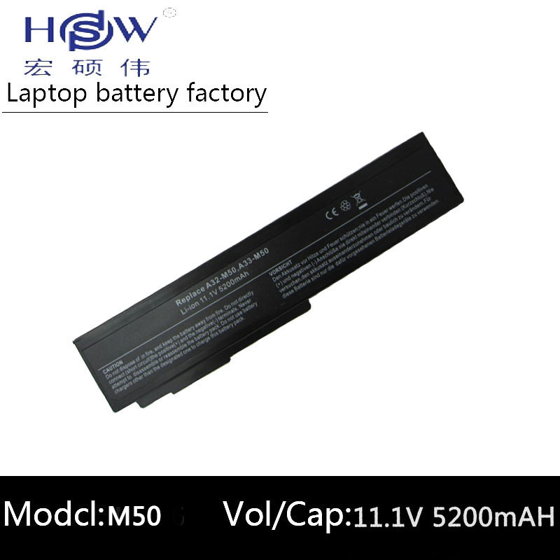 מחשב נייד HSW Laptop עבור Asus N53S N53SV A32-M50 A32-N61 A32-X64 סוללה עבור מחשב נייד N53 M50s A33-M50 N61J N61D N61VG N61JA N61JV