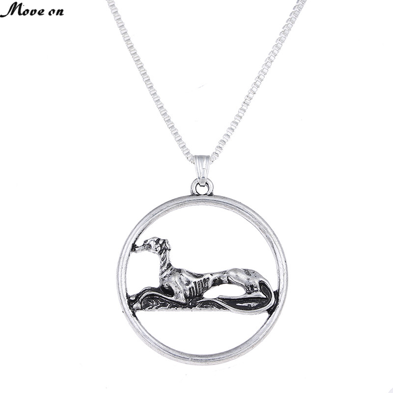 1Pc Resting Greyhound Necklace Antique Silver Pendants Sitting Grey Hound Necklaces Pendants Women Charm Memorial Gift