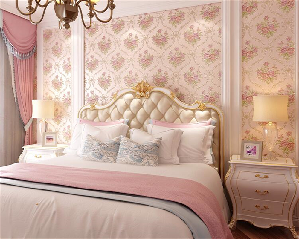 beibehang Nonwovens Wall paper Bedroom American Pastoral Living Room papier peint Wallpaper Stereo Relief Romantic TV Background beibehang pure non woven wallpaper fresh korean style small floral wall paper bedroom living room children s room papier peint
