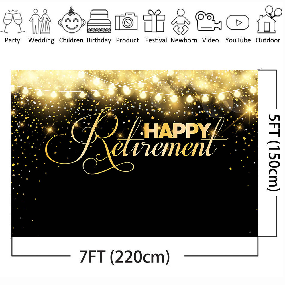 Happy Retirement Backdrop for graphy Party Banner Portrait