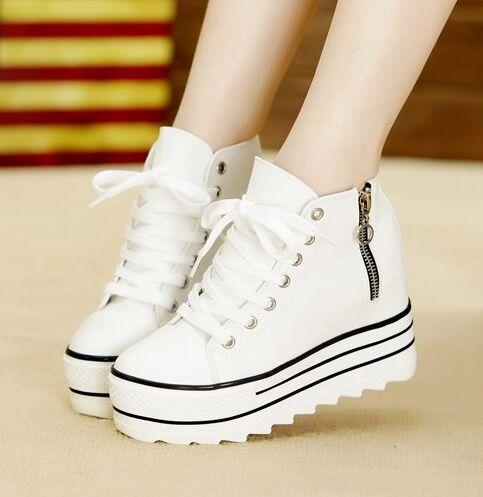 A la moda Women wedge Sneakers bonitos zapatos de lona enredaderas zapatos de plataforma tamaño 35