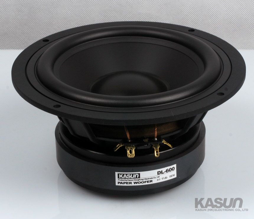 2PCS Kasun DL-600 6.5'' Midrange/Midwoofer Speaker Driver Unit Casting Aluminum Basket Black PP Cone Fs=36Hz 8ohm 180W D179mm 2pcs kasun qa 8100 8inch woofer speaker driver unit paper cone 8ohm 140w dia 218mm fs 45hz