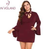 IN'VOLAND Large Size XL 5XL Women Vintage Dress Choker Flare Sleeve Wrap Lace Up Slim Fit Mini Party Dresses Vestidos Plus Size
