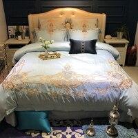 Хороший 120 s из египетского хлопка роскошные вышивки Royal Постельное белье 4/6 pcsking Queen Свадебные простыня набор пододеяльник наволочка синий